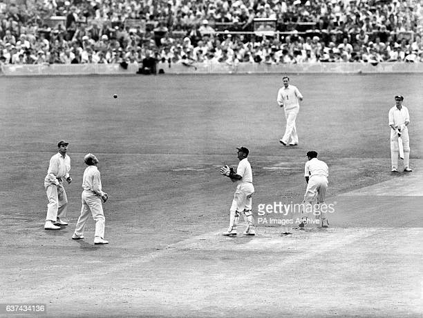 Australia's Colin McDonald is caught by England's Tony Lock off the bowling of Jim Laker