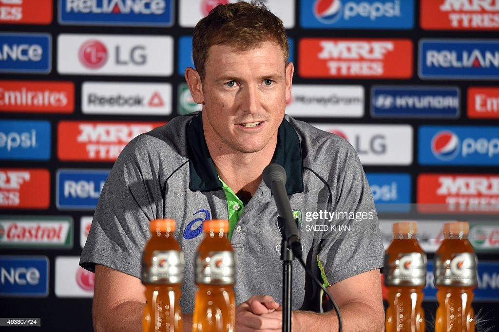 Australia's cricketer <a gi-track='captionPersonalityLinkClicked' href=/galleries/search?phrase=George+Bailey+-+Cricket+Player&family=editorial&specificpeople=9737020 ng-click='$event.stopPropagation()'>George Bailey</a> speaks during a press conference one day ahead of their first match in the cricket 2015 World Cup, at the Melbourne Cricket Ground (MCG) on February 13, 2015. AFP PHOTO / Saeed KHAN --IMAGE