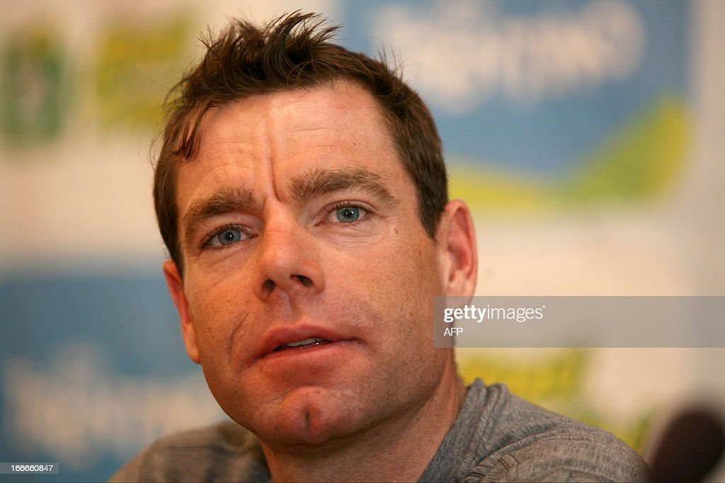Australia's cyclist Cadel Evans of BMC Racing Team attends cycling road race 'Giro del Trentino' press conference at the city hall in Lienz, on April 15, 2013.