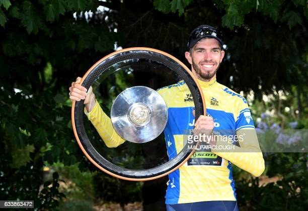 Australias Damien Howson of OricaScott holds the Herald Sun Tour trophy after winning the 2017 Herald Sun Tour cycling event in Melbourne on February...