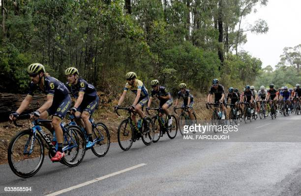Australia's Damien Howson of OricaScott rides during stage four of the 2017 Herald Sun Tour cycling race in Melbourne on February 5 2017 / AFP / Mal...
