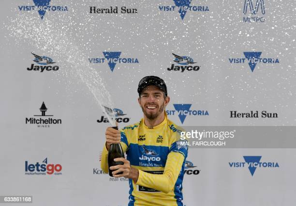 Australia's Damien Howson of OricaScott sprays champagne to celebrate on the podium after winning the 2017 Herald Sun Tour cycling race in Melbourne...