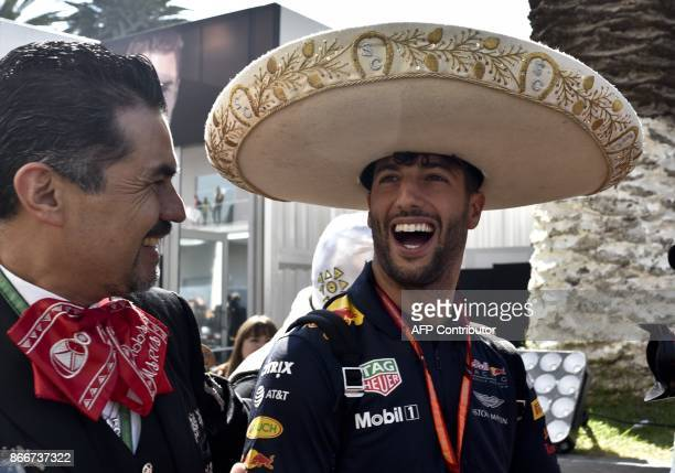 TOPSHOT Australia's Daniel Ricciardo arrives at the circuit Hermanos Rodriguez accompanied by Mexican traditional mariach band during previews to the...