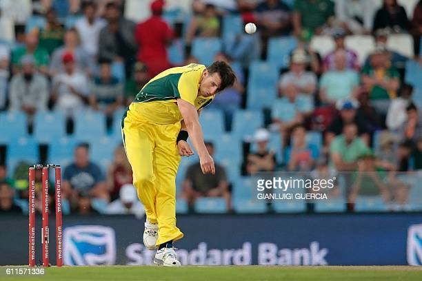 TOPSHOT Australia's Daniel Worrall bowls on South Africa's batsman Rilee Rossouw during the first One Day International cricket match Australia...