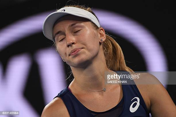 Australia's Daria Gavrilova reacts after a point against Czech Republic's Karolina Pliskova during their women's singles fourth round match on day...