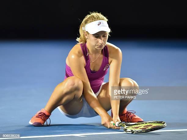 Australia's Daria Gavrilova reacts during her women's singles match against Spain's Carla Suarez Navarro on day seven of the 2016 Australian Open...