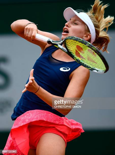 Australia's Daria Gavrilova returns the ball to Belgium's Elise Mertens during their tennis match at the Roland Garros 2017 French Open on May 29...