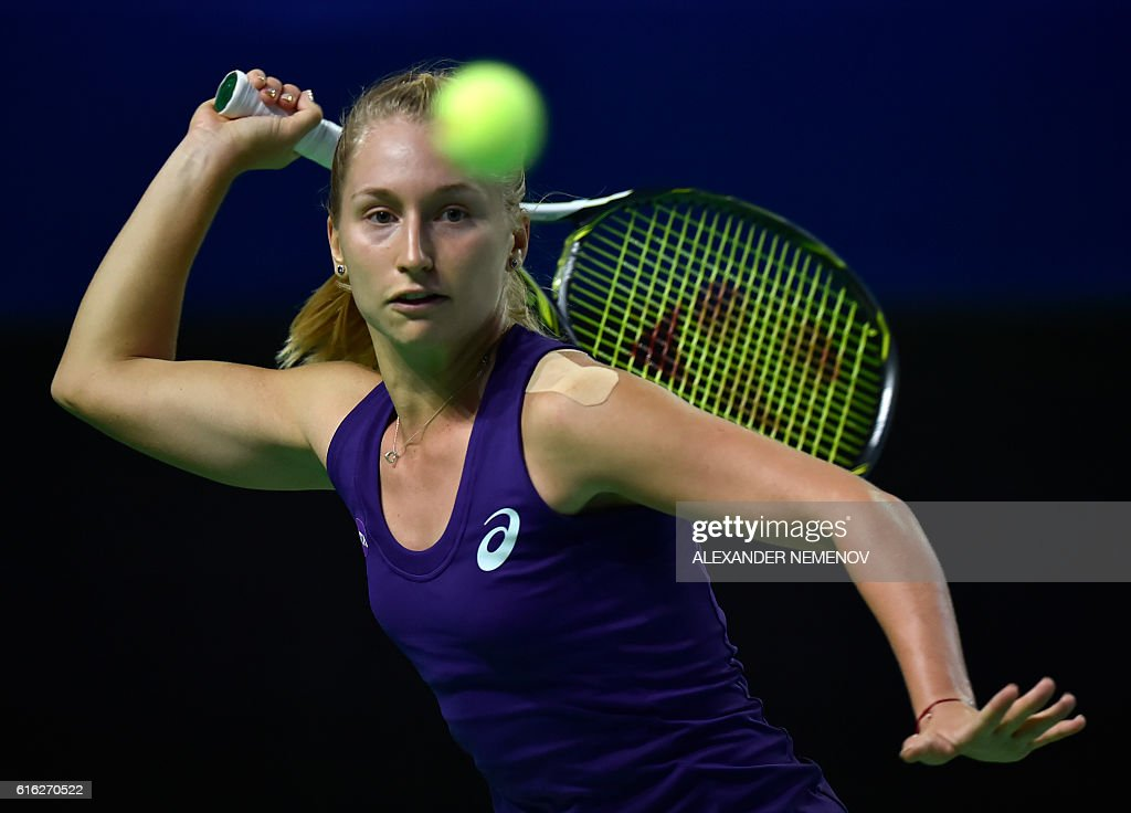 Australia's Daria Gavrilova returns the ball to Russia's Svetlana Kuznetsova during the Kremlin Cup tennis tournament final match in Moscow on October 22, 2016. / AFP / ALEXANDER