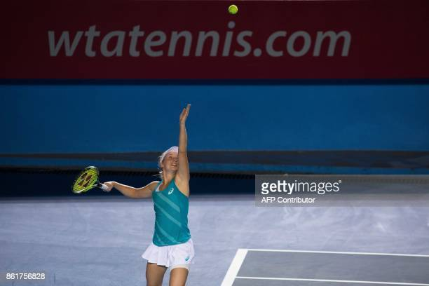 Australia's Daria Gavrilova serves against Russia's Anastasia Pavlyuchenkova during the women's singles final at the Hong Kong Open tennis tournament...