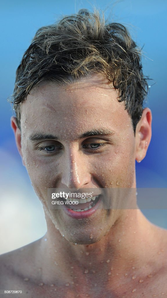Australia's David McKeon leaves the pool after winning the men's 200m freestyle event at the final day of the Aquatic Super Series swimming event in Perth on February 6, 2016. AFP PHOTO / Greg WOOD WOOD