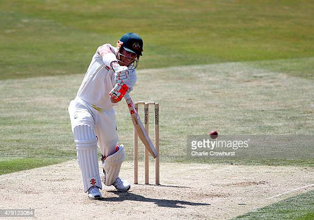 Australia's David Warner hits out during day one of the tour match between Essex and Australia at The Ford County Ground on July 01 2015 in...
