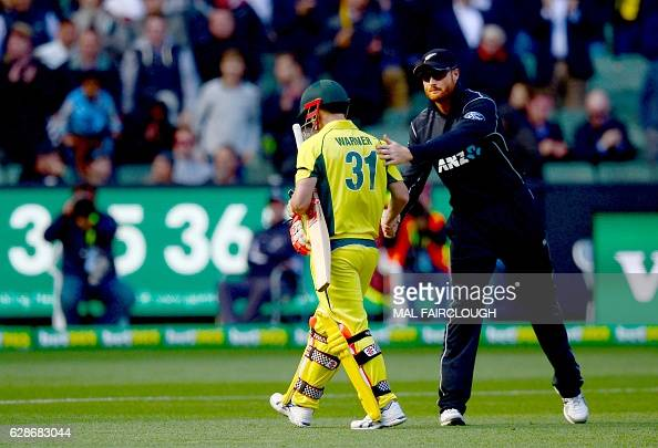 Australia's David Warner leaving the ground during the third match of the one day international cricket series between Australia and New Zealand at...