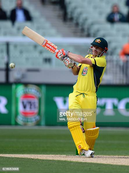 Australia's David Warner playing a shot during the third match of the oneday international cricket series between Australia and New Zealand at the...