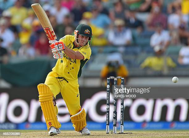 Australia's David Warner plays a shot during the 2015 Cricket World Cup Pool A match between Australia and Afghanistan in Perth on March 4 2015 AFP...