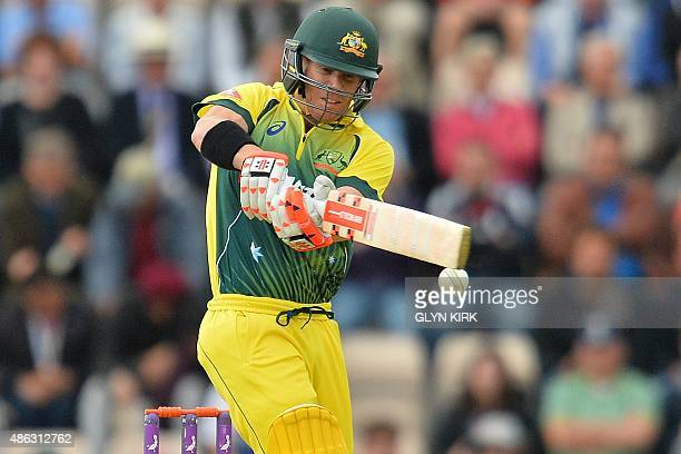 Australia's David Warner plays a shot during the first one day international cricket match between England and Australia at The Ageas Bowl cricket...