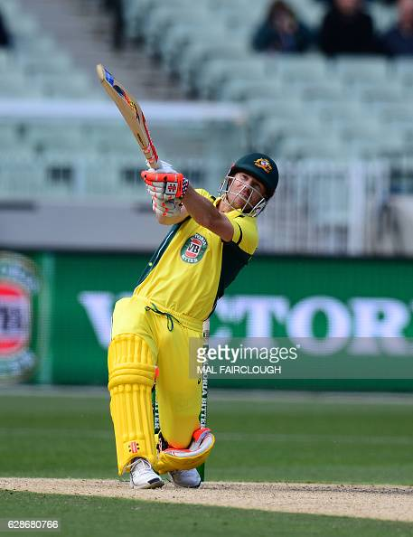 Australia's David Warner plays a shot during the third match of the oneday international cricket series between Australia and New Zealand at the MCG...