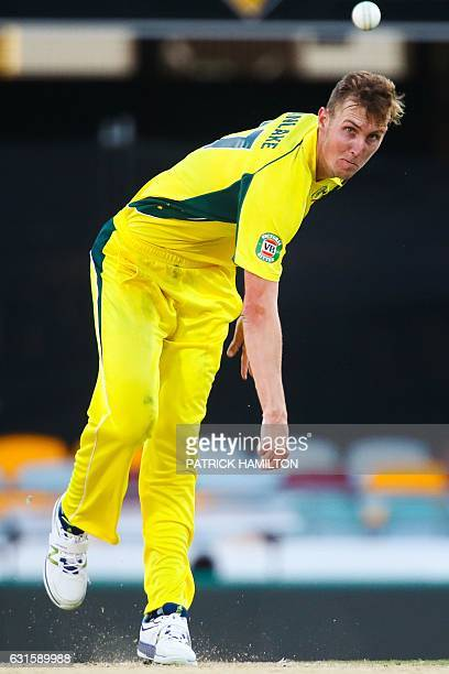 Australia's debutant bowler Billy Stanlake during the oneday international cricket match between Pakistan and Australia in Brisbane on January 13...