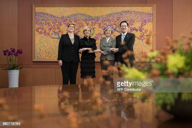 Australia's defence minister Marise Payne and foreign minister Julie Bishop stand with South Korea's foreign minister Kang Kyungwha and defense...