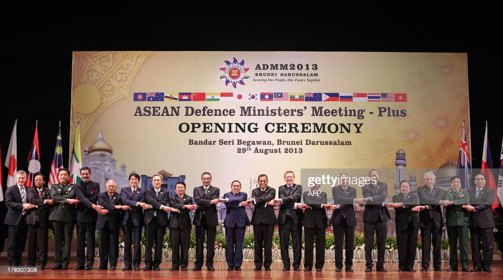 Australia's Defence Minister Stephen Smith, Deputy Prime Minister and Cambodia Minister of Defence Tea Banh, Chinese Defence Minister Chang Wanquan, India's Defence Minister Jitendra Singh, Indonesia's Defence Minister Purnomo Yusgiantoro, Japan's Defense Minister Itsunori Onodera, South Korea's Defense Minister Kim Kwan-jin, Malaysia's Defence Minister Hishammuddin Tun Hussein, Myanmar's Defence Minister Wai Lwin, New Zealand's Defence Minister Jonathan Coleman, Philippines Defense Secretary Voltaire Gazmin, Russia's Deputy Defence Minister Anatoly Antonov, Singapore's Defence Minister Ng Eng Hen, Thailand's Deputy Defence Minister Yuthasak Sasiprapha, US Secretary of Defense Chuck Hagel, Vietnam's Defence Minister Phung Quang Thanh and Deputy Secretary-General of ASEAN Nyan Lynn pose for a group photograph during the Association of Southeast Asian Nations (ASEAN) defence minister's meeting in Jerudong, some 20 kms outside Brunei's capital Bandar Seri Begawan on August 29, 2013. Defence ministers from Southeast Asia and eight other powers were expected to discuss territorial disputes at sea as well as possible Western military action against Syria as they met in Brunei on August 29.