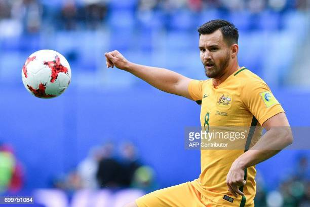 Australia's defender Bailey Wright plays the ball during the 2017 Confederations Cup group B football match between Cameroon and Australia at the...