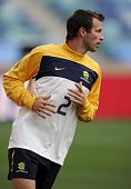 Australia's defender Lucas Neill takes part in an official training session on the eve of their 2010 Football World Cup group D football match...