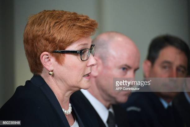 Australia's Defense Minister Marise Payne speaks at the start of a meeting with US Defense Secretary James Mattis at the Pentagon in Washington DC on...