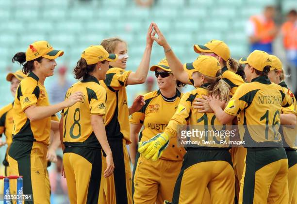Australia's Ellyse Perry is congratulated after taking the wicket of Charlotte Edwards for 25 during the ICC Women's World Twenty20 Semi Final at The...