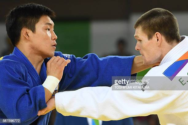 Australia's Eoin Coughlan competes with South Korea's Lee Seungsu during their men's 81kg judo contest match of the Rio 2016 Olympic Games in Rio de...