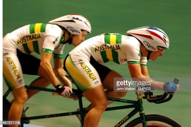 Australia's Felicity Johnson and Katie Parker in the tandem sprint final B/VI female