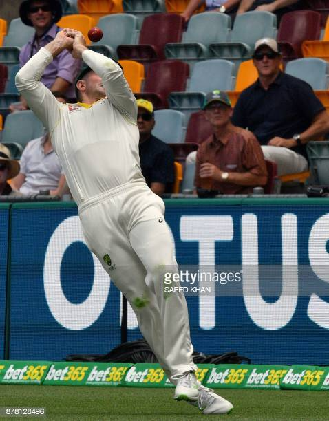 Australia's fielder Mitchell Marsh drops a catch at the boundary line off a shot by England's Stuart Broad on the second day of the first cricket...