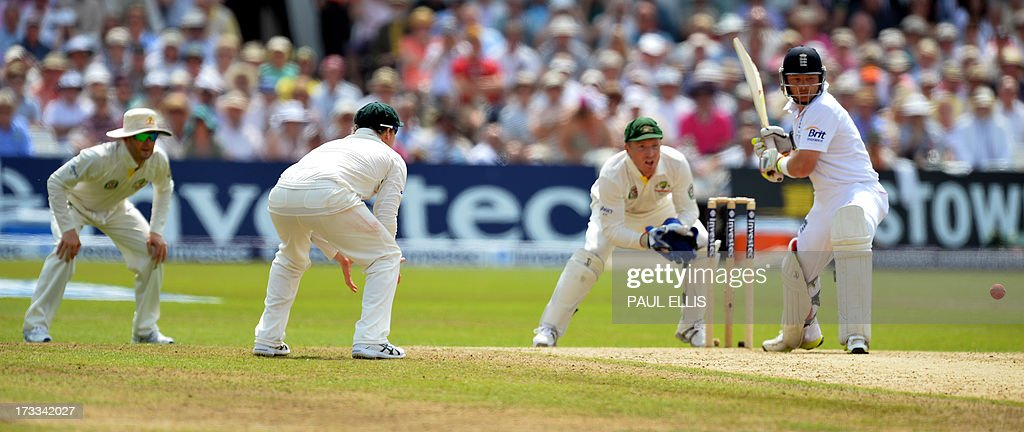 Australia's fielders close in as England batsman Ian Bell faces a delivery during the third day of the first Ashes cricket test match between England...
