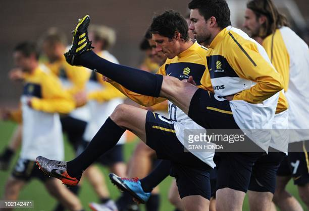 Australia's football players during a team training session at Ruimsig Stadium in Roodepoort on June 16 2010 during the 2010 World Cup football...