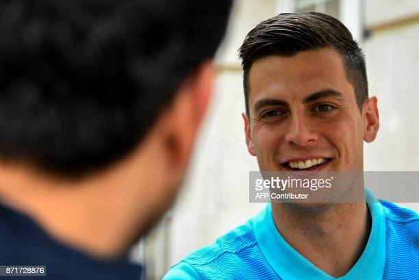Australia's footballer Tomi Juric speaks to the press at the hotel in San Pedro Sula Honduras on November 8 2017 just days ahead of the first leg...