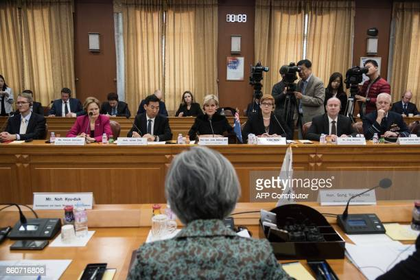 Australia's foreign minister Julie Bishop and defence minister Marise Payne attend a meeting with South Korea's foreign minister Kang Kyungwha at the...