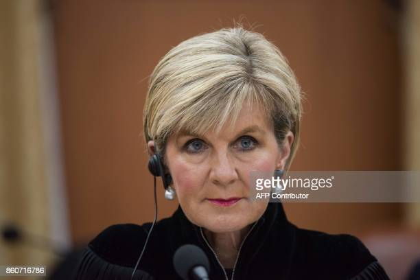 Australia's foreign minister Julie Bishop attends a meeting with South Korea's foreign minister Kang Kyungwha at the Ministry of Foreign Affairs in...