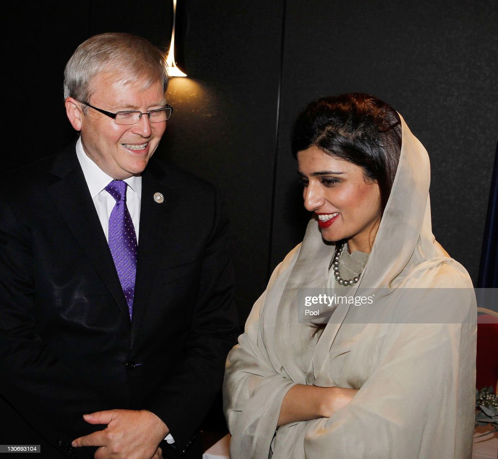 Australia's Foreign Minister <a gi-track='captionPersonalityLinkClicked' href=/galleries/search?phrase=Kevin+Rudd&family=editorial&specificpeople=707751 ng-click='$event.stopPropagation()'>Kevin Rudd</a> and Pakistan's Foreign Minister <a gi-track='captionPersonalityLinkClicked' href=/galleries/search?phrase=Hina+Rabbani+Khar&family=editorial&specificpeople=781486 ng-click='$event.stopPropagation()'>Hina Rabbani Khar</a> attend a bilateral meeting during the Commonwealth Heads of Government Meeting (CHOGM) on October 28, 2011 in Perth, Australia. Queen Elizabeth II opened the 54-nation summit today, following a 9-day tour of Australia. The three-day biennial gathering is chaired by Australian Prime Minister, Julia Gillard and concludes on October 30.