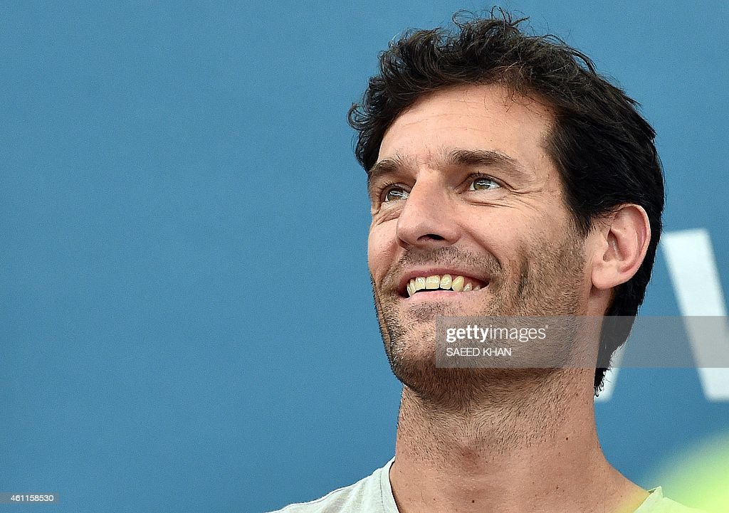Australia's former Formula One driver <a gi-track='captionPersonalityLinkClicked' href=/galleries/search?phrase=Mark+Webber+-+Race+Car+Driver&family=editorial&specificpeople=167271 ng-click='$event.stopPropagation()'>Mark Webber</a> watches the women's singles quarter-final match between Carla Suarez Navarro of Spain and Maria Sharapova of Russia at the Brisbane International tennis tournament in Brisbane on January 8, 2015. AFP PHOTO / Saeed KHAN USE
