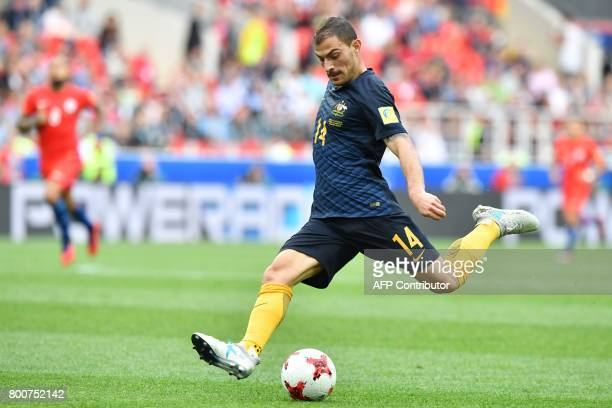 Australia's forward James Troisi shoots the ball during the 2017 Confederations Cup group B football match between Chile and Australia at the Spartak...