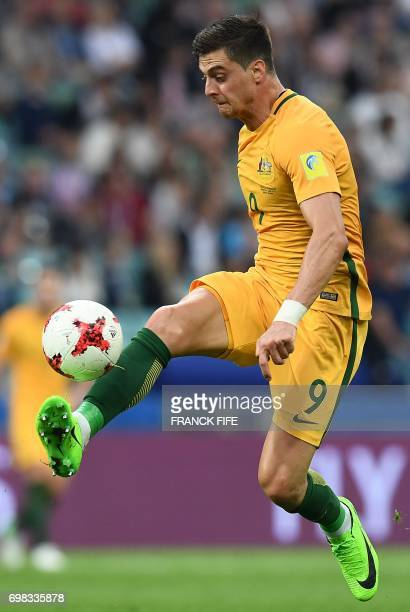 Australia's forward Tomi Juric controls the ball during the 2017 Confederations Cup group B football match between Australia and Germany at the Fisht...