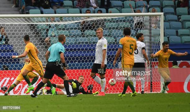 Australia's forward Tomi Juric look back after scoring a goal during the 2017 Confederations Cup group B football match between Australia and Germany...