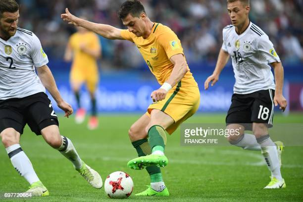 Australia's forward Tomi Juric plays the ball during the 2017 Confederations Cup group B football match between Australia and Germany at the Fisht...