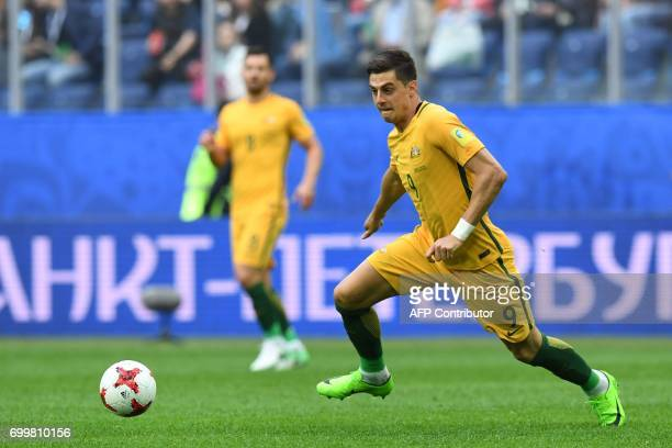 Australia's forward Tomi Juric plays the ball during the 2017 Confederations Cup group B football match between Cameroon and Australia at the Saint...