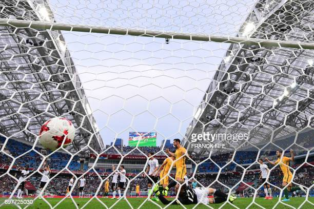 Australia's forward Tomi Juric scores a goal past Germany's goalkeeper Bernd Leno during the 2017 Confederations Cup group B football match between...