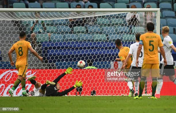 Australia's forward Tomi Juric shoots to score during the 2017 Confederations Cup group B football match between Australia and Germany at the Fisht...
