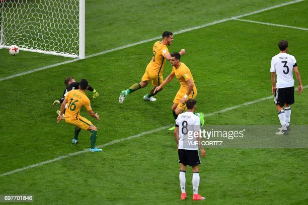 Australia's forward Tomi Juric shoots to score past Germany's goalkeeper Bernd Leno during the 2017 Confederations Cup group B football match between...