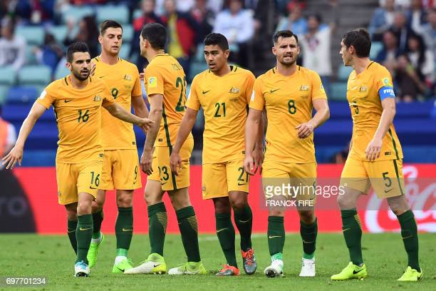 Australia's forward Tommy Rogic celebrates with team mates after scoring a goal during the 2017 Confederations Cup group B football match between...