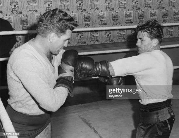 Australia's George Barnes the British Empire welterweight champion spars with his train Bernie Hall at the Thomas A Beckett Gymnasium on the Old Kent...