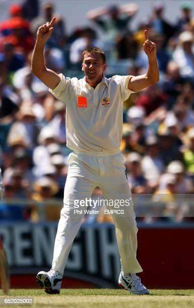 Australia's Glenn McGrath celebrates his dismissal of England's Robert Key