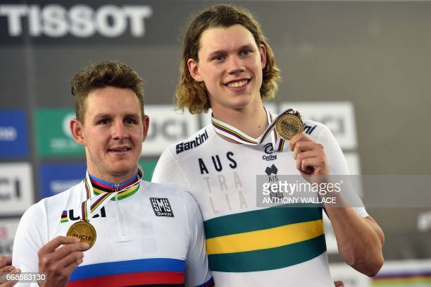 Australia's gold medalist Jordan Kerby and Australia's bronze medalist Kelland O'Brien celebrate during the medal ceremony for the Men's Individual...