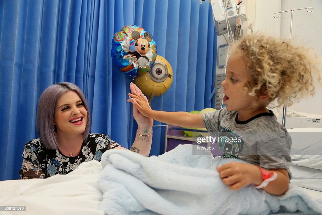 'Australia's Got Talent' judge <a gi-track='captionPersonalityLinkClicked' href=/galleries/search?phrase=Kelly+Osbourne&family=editorial&specificpeople=156416 ng-click='$event.stopPropagation()'>Kelly Osbourne</a> visits patient Ben McDonald at Sydney Children's Hospital, Randwick in Sydney, New South Wales.